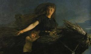 "'Nótt riding Hrímfaxi' by Peter Nicolai Arbo. Nótt is the daughter of a jötunn from Jötunheimr by the name of ""Norfi or Narfi."""