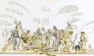 """A caricature of the crew of HMS Beagle painted off the coast of Argentina (at Bahía Blanca) around 24 September 1832, presumed painted by the shipboard artist Augustus Earle. Described by Sotheby's as """"one of the earliest depictions of Darwin, the only image of him on the Beagle, and an exceptionally rare image of him at work as a naturalist"""". By  Augustus Earle (1793 – 1838)"""