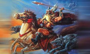 "Odin Riding Forth on the Cover of ""Legends and Lore"""