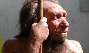 Reconstruction of a Neanderthal holding a spear