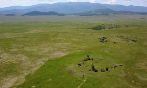 Aerial view of the burial mound Tunnug 1 (Arzhan 0). A distinct circle can be seen on one plane.