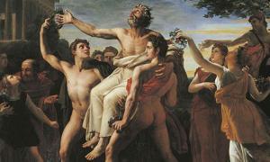 Triumphant Diagoras held aloft by his sons by Auguste Vinchon.