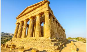 One of the Greek temples in the Valley of Temples outside Agrigento, Sicily