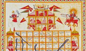 Jain version Game of Snakes & Ladders called jnana bazi or Gyan bazi, India, 19th century, Gouache on cloth.