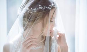 Closeup wedding accessory - bridal veil.
