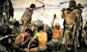 The Stone Age' (1882-1885), detail of a painting by Viktor M. Vasnetsov.