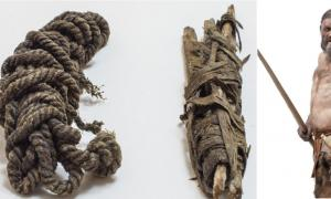 Left, Ötzi's bowstring; Right, The Iceman's reconstruction by Alfons & Adrie Kennis Source: © South Tyrol Museum of Archaeology / H. Wisthaler; Right -Ochsenreiter