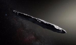 An artist's interpretation of the strange cigar shape of 'Oumuamua.'  Source: ESO/M. Kornmesser