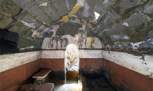 Painted burial chamber (from 2nd century B.C.) excavated in 2018