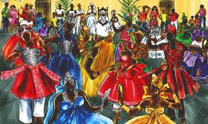 Painting of Orixas dancing.