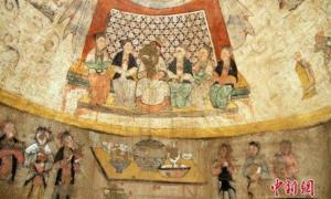Paintings in a Yuan Dynasty tomb had beautifully painted scenes from stories of Filial Piety.