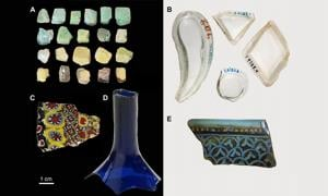 Glass artifacts from Samarra representing the different compositional groups