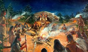 Illustration of a Paleoindian campsite