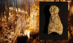 Foissac Cave. Inset: The newly-discovered Paleolithic figurine