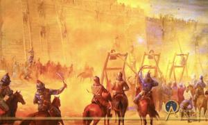 Mural of siege warfare, Genghis Khan Exhibit in San Jose, California, US