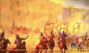 Mural of siege warfare, Genghis Khan Exhibit in San Jose, California, US