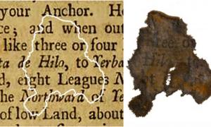 A fragment of paper discovered on Blackbeard's flagship Queen Anne's Revenge, compared with the book it was determined to be from. Credit: North Carolina Department of Natural and Cultural Resources