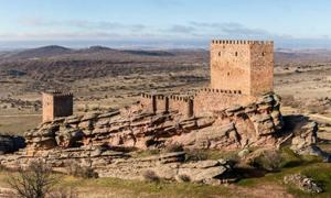 View of the Castle of Zafra, Campillo de Dueñas, Guadalajara, Spain. The castle was built in the late 12th or early 13th centuries