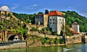Medieval style buildings in Passau where three people were found dead, shot by crossbow