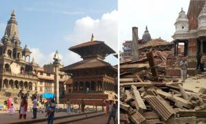 The Patan Durbar Square, one of four plazas that remain that were home to the Nepalese royal family, before and after the earthquake.