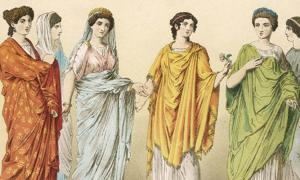 Patrician Ladies with Plebeian Slave in background.