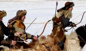 Modern Mongol horsemen at the eagle festival. Life may have been tranquil for hunters during the time of Pax Mongolica too.