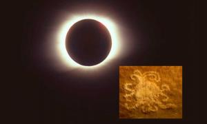 Main: Total eclipse of the sun taken on 9 March 1997 (CC by SA 3.0). Inset: The petroglyph in Chaco Canyon, which may represent a solar eclipse. Credit: University of Colorado