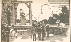 Depiction of the hanging of Elizabeth Wilson, with William Wilson coming with the pardon (from a later edition of The Pennsylvania Hermit).
