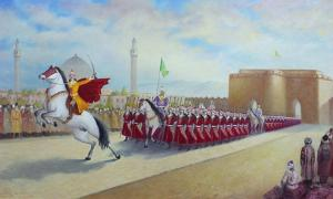 "New Persian dynasty ruler, Ismail declares himself ""Shah"" by entering Tabriz; his troops in front of Arg of Tabriz, painter Chingiz Mehbaliyev."