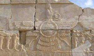 Faravahar, one of the best-known symbols of ancient Iran (Persia). Relief in Persepolis.