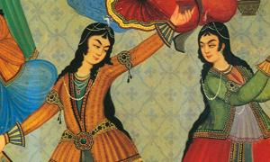 "Persian Women dancing. From a wall painting at ""Hasht Behesht Palace"" (Palace of 8 heavens), Isfahan, Iran."