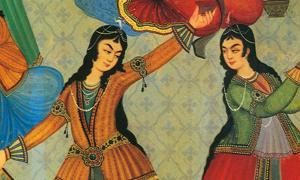 """Persian Women dancing. From a wall painting at """"Hasht Behesht Palace"""" (Palace of 8 heavens), Isfahan, Iran."""
