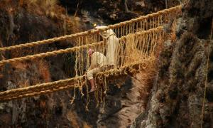 Spectacular Peruvian Rope Bridge