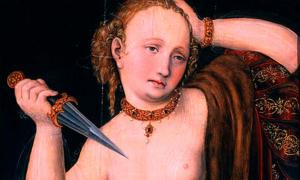 'Lucretia' by Lucas Cranach the Elder. Lucretia's suicide is a well-known example of suicide in ancient Rome.