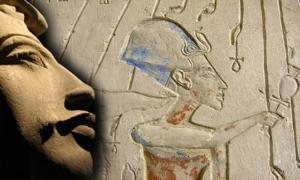 Akhenaten, relief of the pylons of the house of Panehsy, Chief Servitor of the Aten. It depicts Akhenaten making offerings to the Aten.