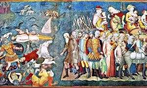 Pharaoh and his army drown trying to cross the Red Sea, as reflected in the Old Testament. Bartolo di Fredi.