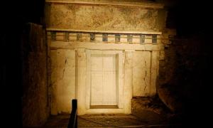 The marble facade of Philip II tomb, Vergina Greece