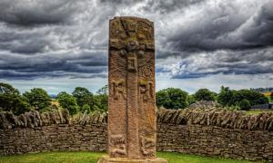 """This is the """"Celtic Cross"""" side of a Pictish stone in Aberlemno, Scotland. This stone dates from around 700AD, and the other side of it has some of the mysterious symbols used by the Picts, who lived in this part of Scotland at the time."""