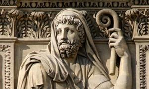 Detail of a relief of Herodotus by Jean-Guillaume Moitte, 1806. Cour Carrée in the Louvre Palace, Paris, France.