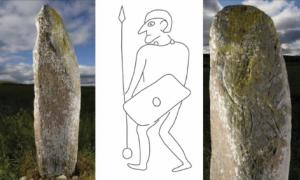 The Collessie Pictish stone and an interpretation of the warrior depicted on it. Source: Historic Environment Scotland, University of Aberdeen