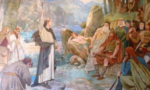 Saint Columba converting King Brude of the Picts to Christianity, Scottish National Portrait Gallery