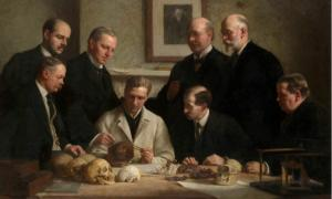 A portrait painted by John Cooke in 1915 showing scientists involved in the Piltdown man case: F. O. Barlow, G. Elliot Smith, Charles Dawson, Arthur Smith Woodward. Front row: A. S. Underwood, Arthur Keith, W. P. Pycraft, and Sir Ray Lankester.