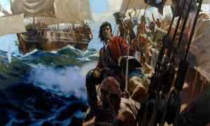 Pirate Bellamy sailing in search of treasure