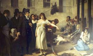 French psychiatrist Philippe Pinel (1745-1826) releasing lunatics from their chains at the Salpêtrière asylum in Paris in 1795.