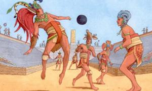 Mesoamerican ballgame latterly known as 'Ulama', using 'Hipball' rules