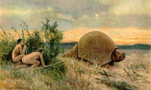 Artistic representation by Heinrich Harder of humans hunting glyptodon, a megafauna that lived during the Pleistocene period.