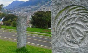 View of Pogačnik's monolith in Itchimbia Park; close-up of monolith design. Itchimbia Hill actually lies slightly outside the central meridian; behind and to the left you can see El Panecillo, which lies directly on the main energy line.