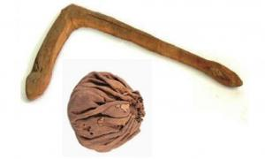 An ancient ball and polo mallet from the Yanghai Tombs