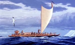 A Wa'a Kaulua (double canoe) of Hawaiian Nobility of the 18th Century. Polynesia was inhabited by skilled seafarers.