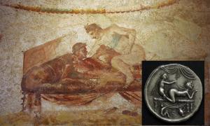 A Pompeii brothel mural.